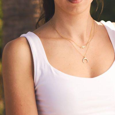 Collar Luna Invertida Plata de Ley 925