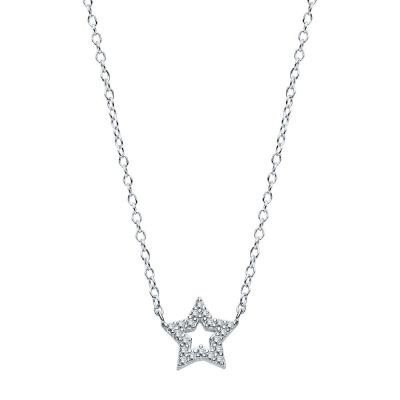 COLLAR STAR ZIRCONIA SILVER