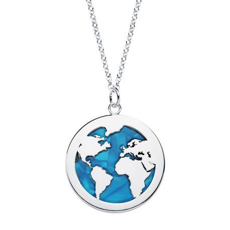 Collar Bola del Mundo Azul Plata de Ley 925
