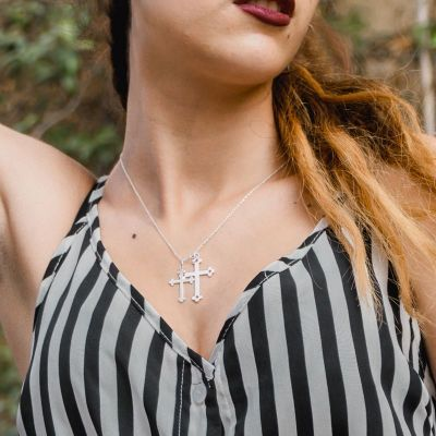 COLLAR COUPLE CROSSES PLATA