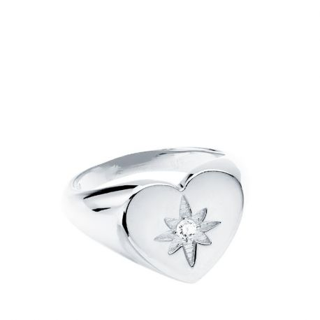 ANILLO SELLO CORAZON PLATA