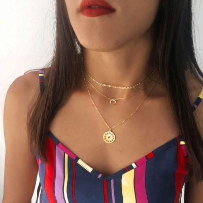 Collar Luna Invertida Plata de Ley 925 Rosa