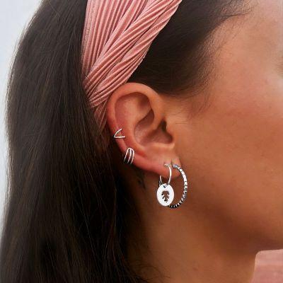 EAR CUFF CROSSED PLATA
