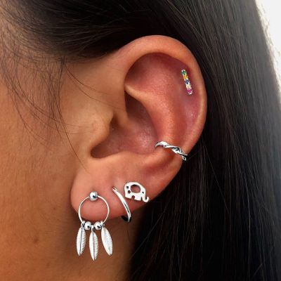 Ear Cuff Twisted Plata