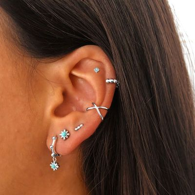 EAR CUFF CROSSED PLATA