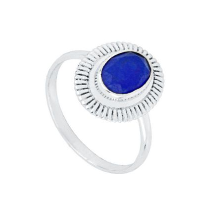 Anillo Zaida Azul Plata
