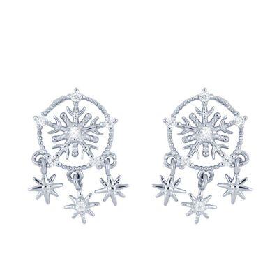 Pendientes Snowflake Plata