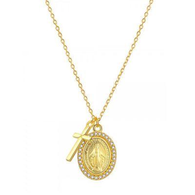Collar Medalla Virgen Milagrosa Oro