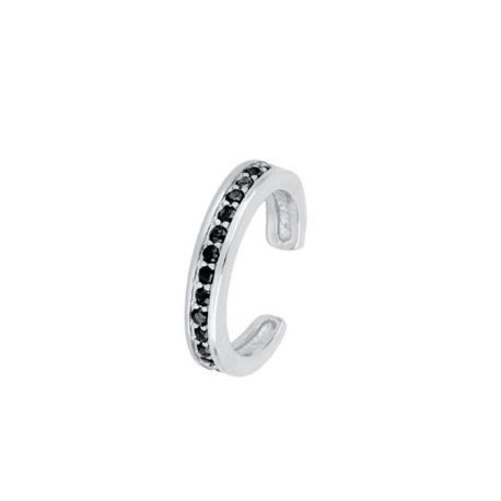 Ear Cuff Suelto Black Plata