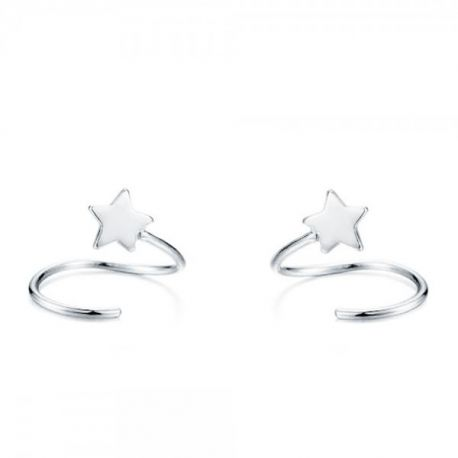 Pendientes aros estrellas plata de ley 925