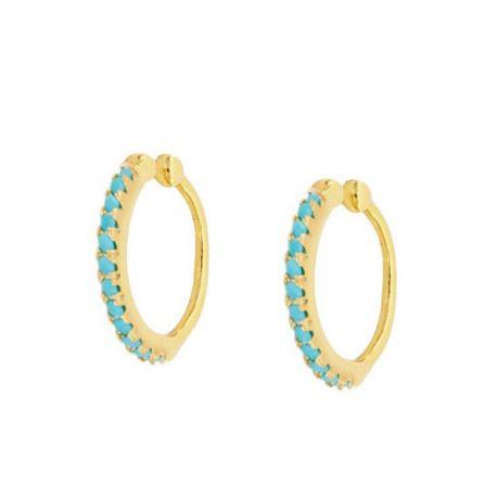 Ear Cuff Oro Turquesas