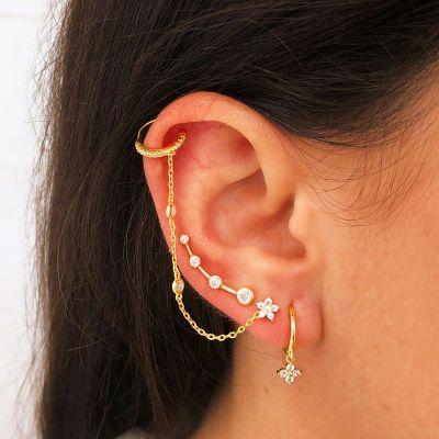 Ear Cuff Cadena Plata