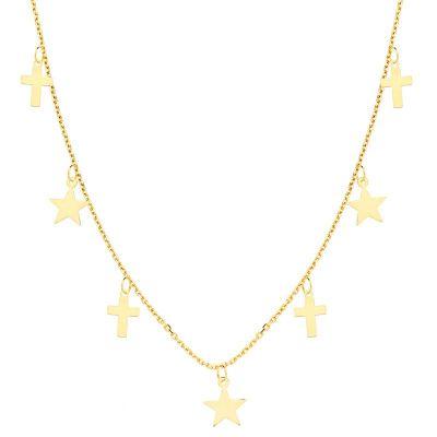 Gargantilla Mujer Cruces Oro Amarillo 18 Ktes