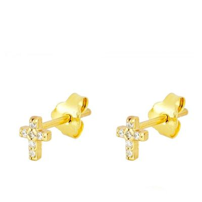 Pendientes Mini Cross Gold