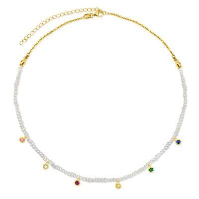 Choker Perlas Rainbow Gold