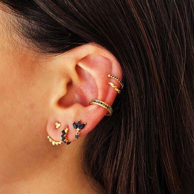 Ear Cuff Plata Piedras Negras