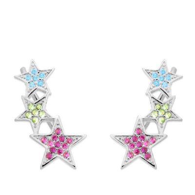 Pendientes Estrellas Trepador de Plata