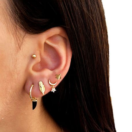 piercings oreja dorado