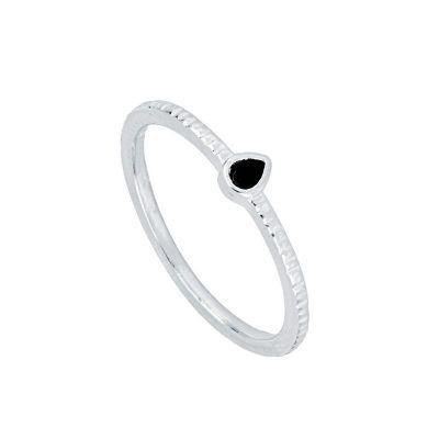 anillo de oro para mujer con circonitas negras