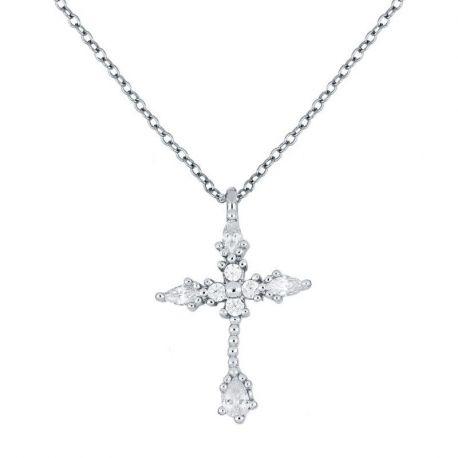 collar de plata con colgante de cruz y piedras