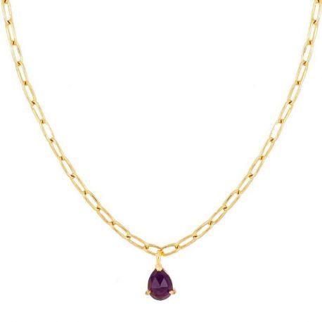collar oro con piedras amatista mujer
