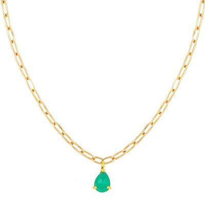 gargantilla de oro con piedra calcedonia verde