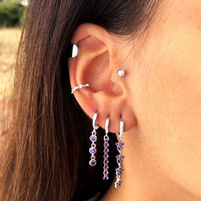 Pendientes aros de plata piedras lilas