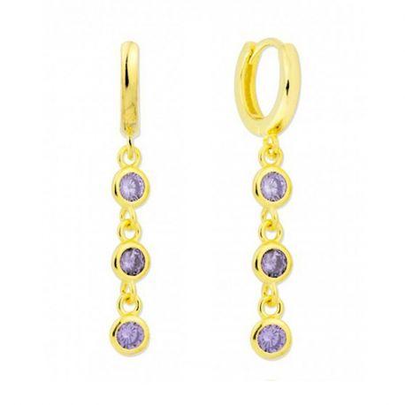 Pendientes aro oro circonitas violetas