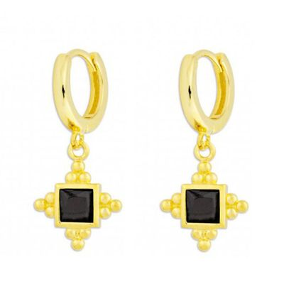 aros de oro pequeños con circonitas negras