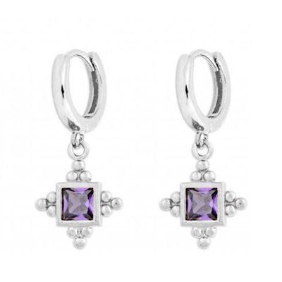 pendientes de aros con circonitas violetas