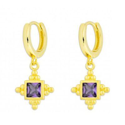 aros de oro con circonitas violetas