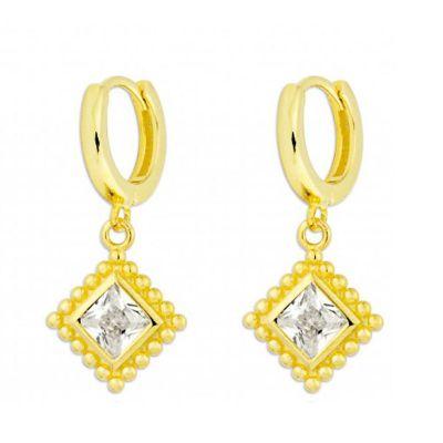aros de oro con piedras blancas