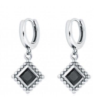 aros de plata con piedras negras