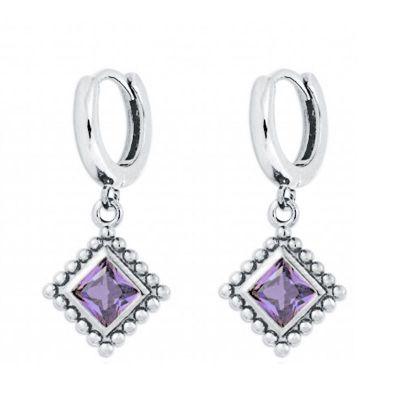 pendientes de aro con circonitas violetas