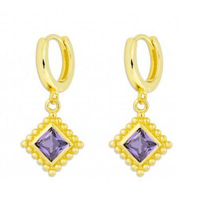 pendientes de aro dorados con circonitas violetas