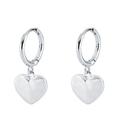 aros de plata con corazon mujer