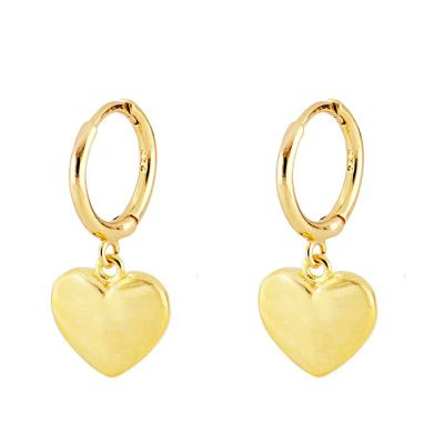 aros de oro con corazon mujer
