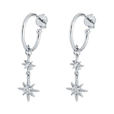 aros de plata largos con estrella