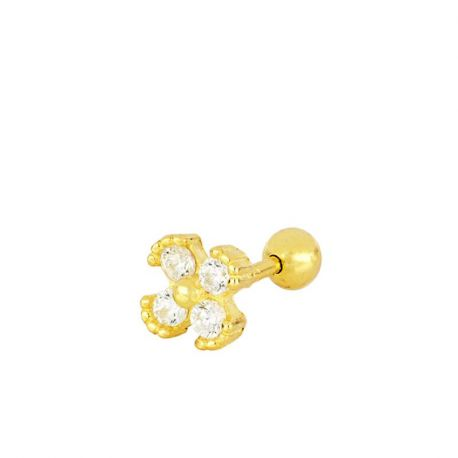 Piercing de oreja trébol dorado