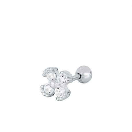 Piercing de oreja en plata con piedras