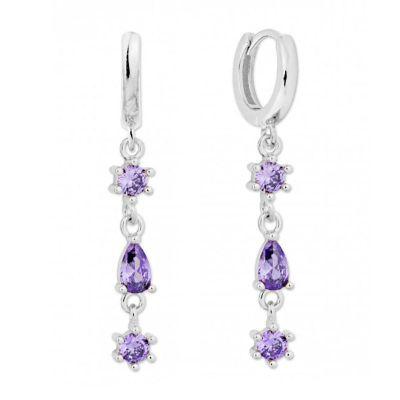 aros largos de plata circonitas violetas