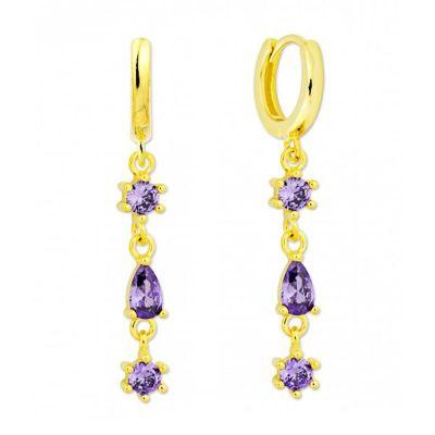 aros largos de oro circonitas violetas