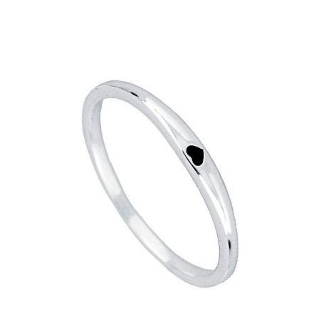 anillo fino de plata corazon
