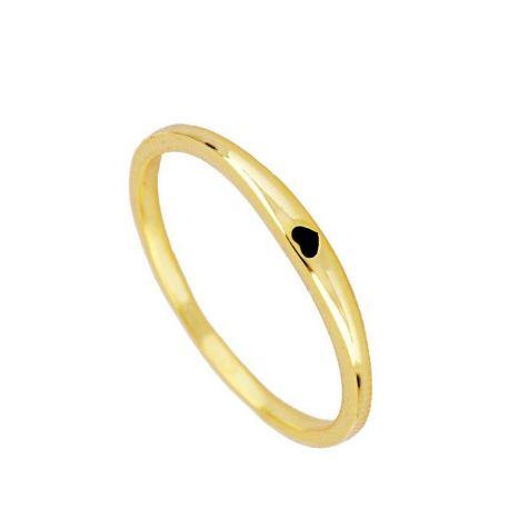anillo fino dorado corazon