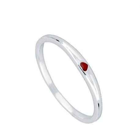 anillo fino de plata corazon rojo
