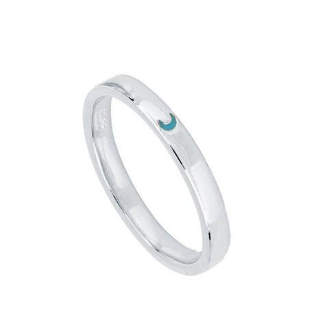 anillo de plata media luna
