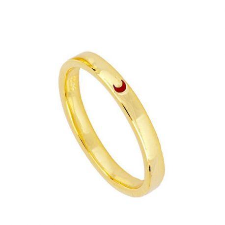 anillo de oro media luna
