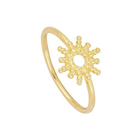 anillo de oro con sol