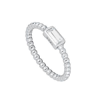 anillo de bolitas con piedra