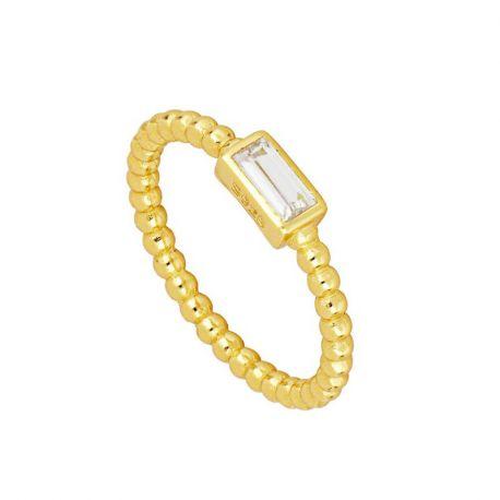anillo dorado de mujer con bolas lisas
